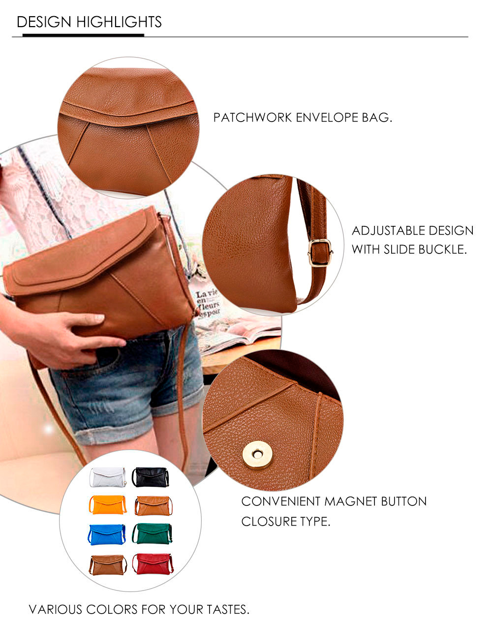 Guapabien Patchwork Magnet Button Shoulder Messenger Across Body Bag for Lady