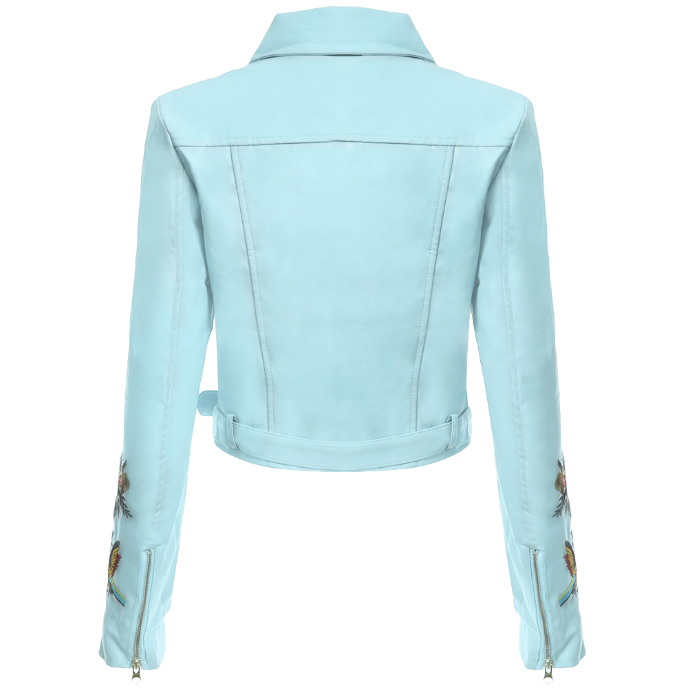 Fashion Turn-down Collar Long Sleeve Zipper Belt Design Embroidery Leather Jacket
