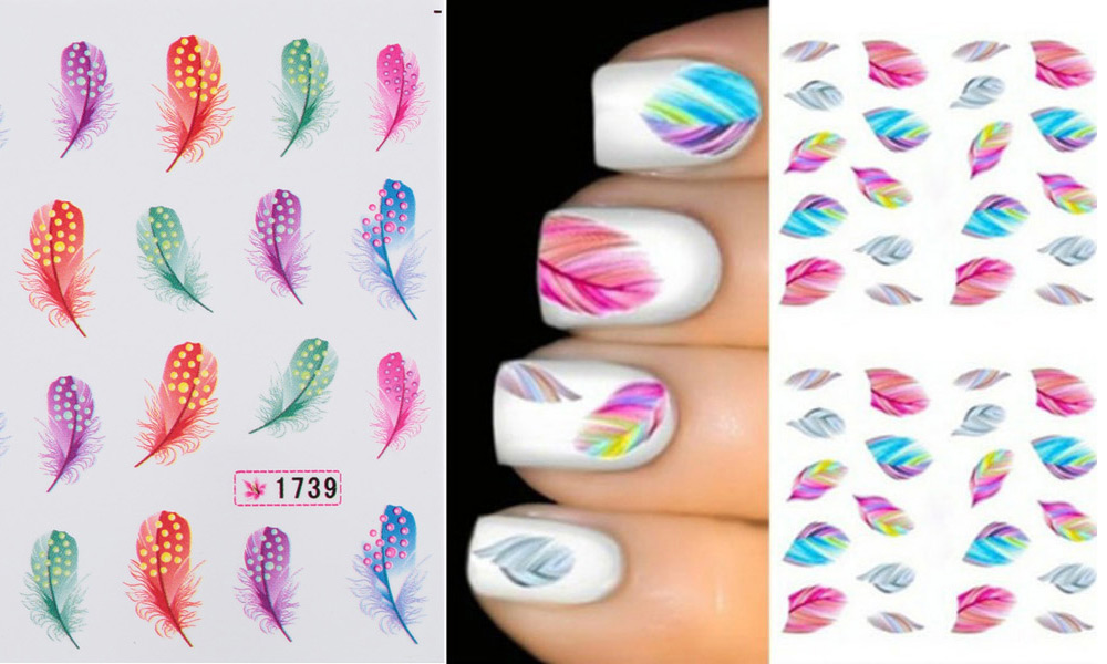 Fashionable Art Tips Feather Water Transfers Nail Sticker for Ladies