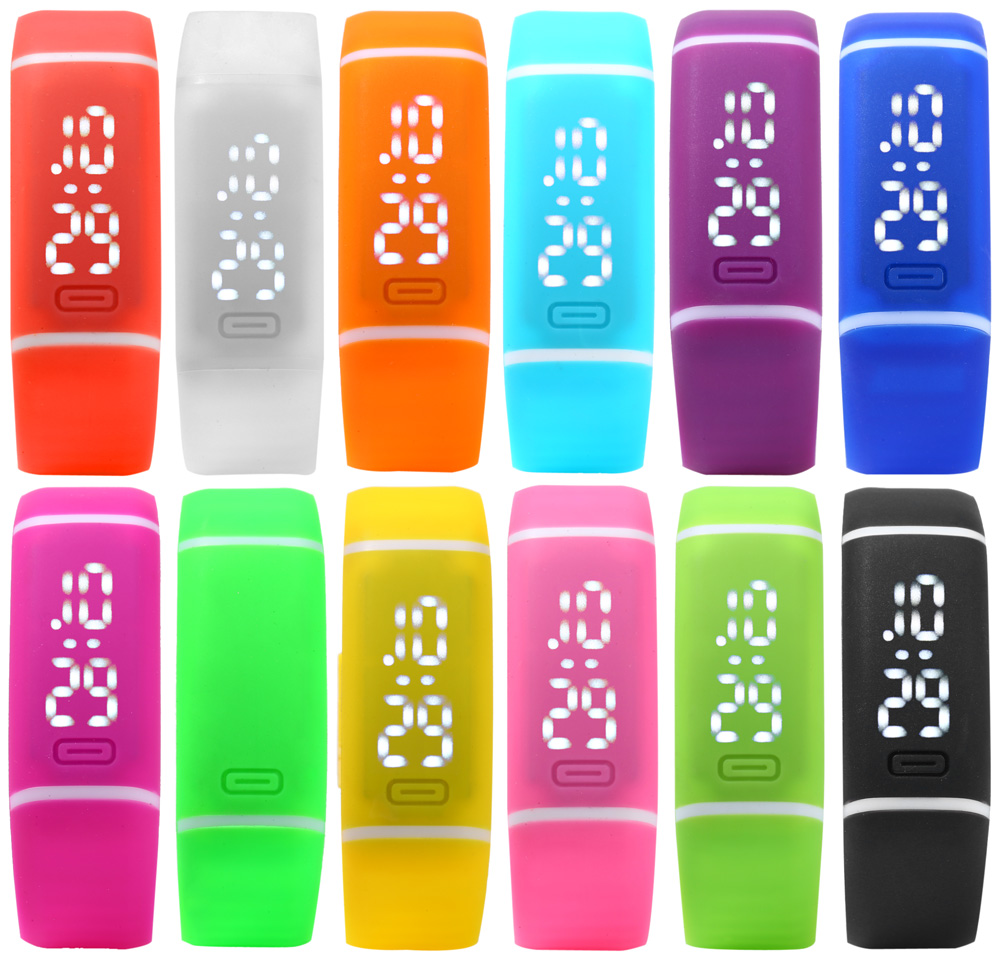Candy Color LED Watch Avec Bracelet en Caoutchouc Fonction de Date