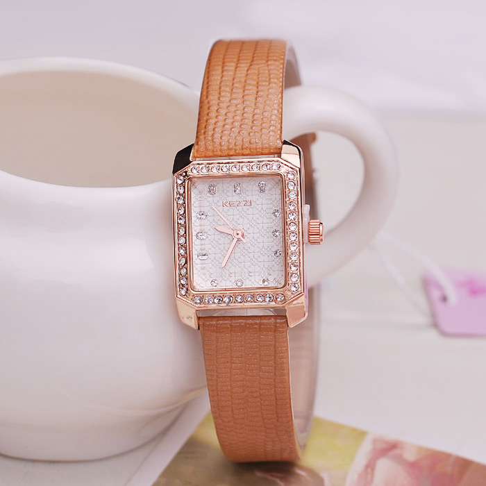 KEZZI Quartz Women Watch Diamond Bezel Flower Pattern Face Cadran Octagon PU Band