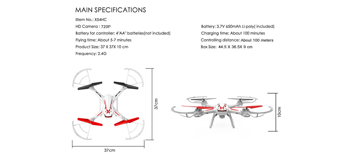 Syma X54HC 720P Camera 2.4GHz 4CH 6 Axis Gyro RC Quadcopter Barometer Set Height