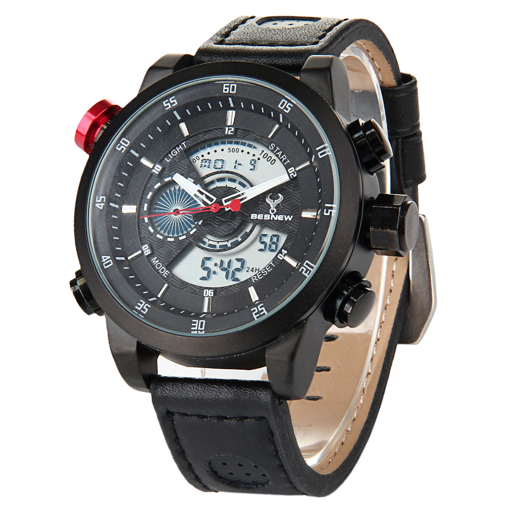 Besnew BN-1503 LED Montre de Sports Affichage de la Date du Jour Imperméable Double Movement