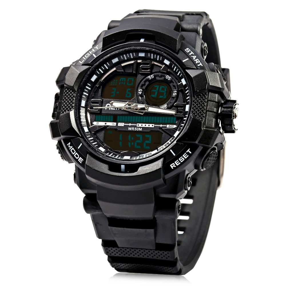 Alike AK15118 Dual Movt Day Date Affichage LED Sports Watch Water Resistance