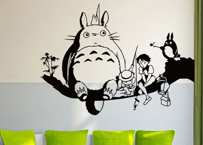 PVC Totoro Shape Papel pintado decorativo Resistente al agua Cute Home Art Decals