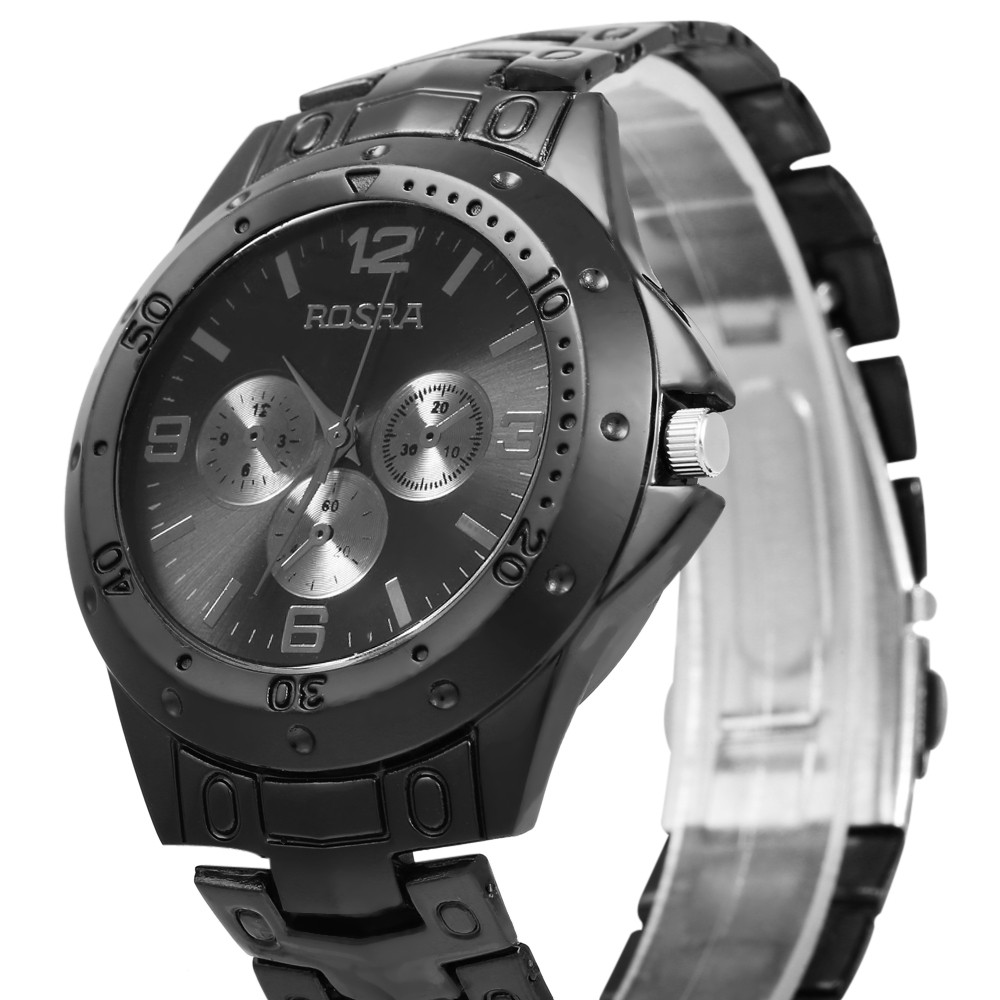 Quartz Men's Watch with 4 Arabic Numbers 8 Rectangle Indicate Steel Watchband and Luminous Pointer