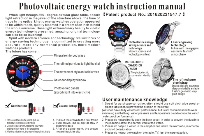 6.11 GD004 Photoelectric Conversion Male Watch Japan Movt Mineral Glass Date Display
