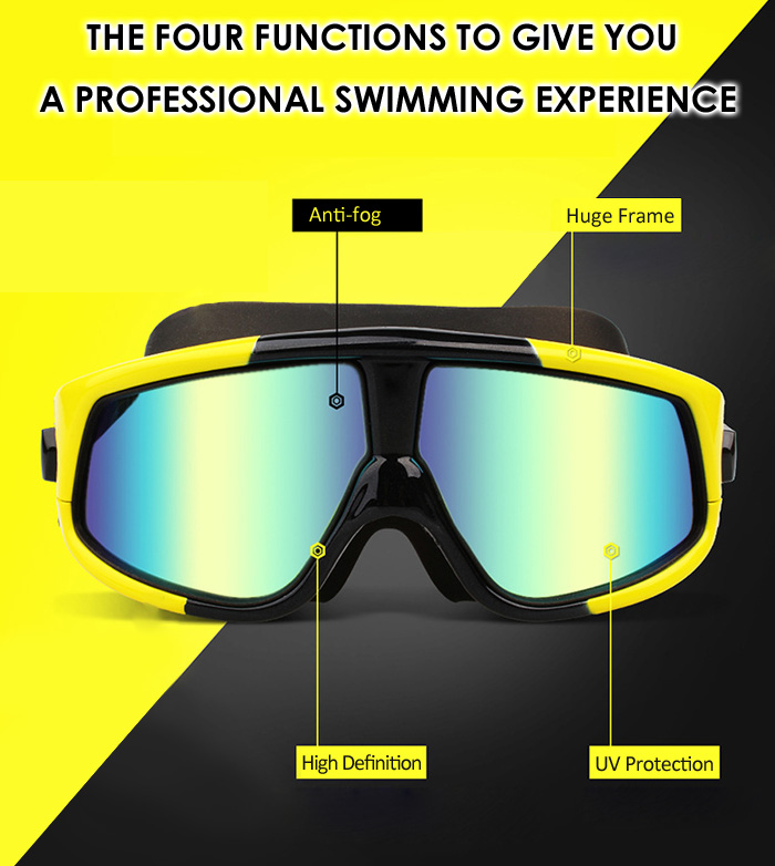 COPOZZ Plating Swimming Goggles Huge Glasses Frame Anti-fog