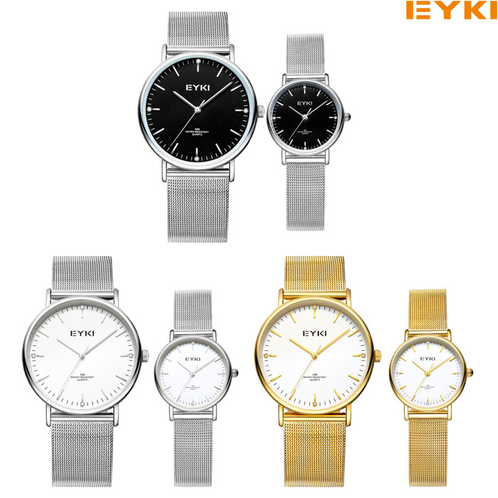 EYKI Casual Ultra-fine Dial Steel Strap Couple Montres avec Japan Movement