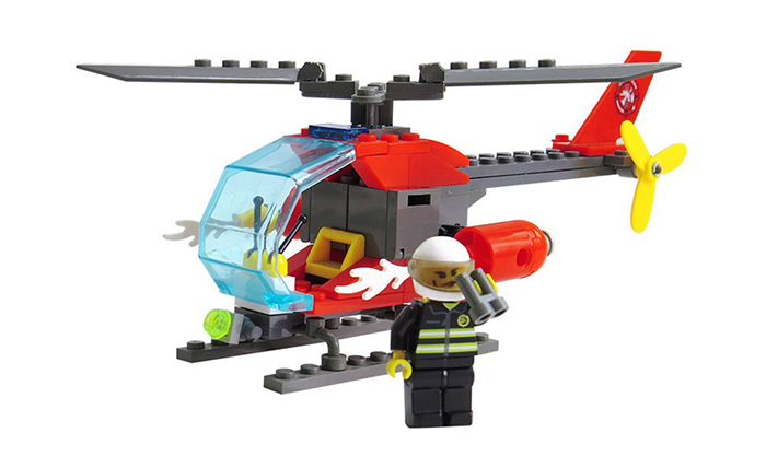 ABS 89pcs Firefighter Helicopter Building Block DIY Model for Kids