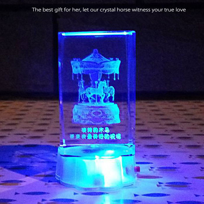 7 Color Change Rectangle Crystal 3D Colorful LED Light Home Office Decor