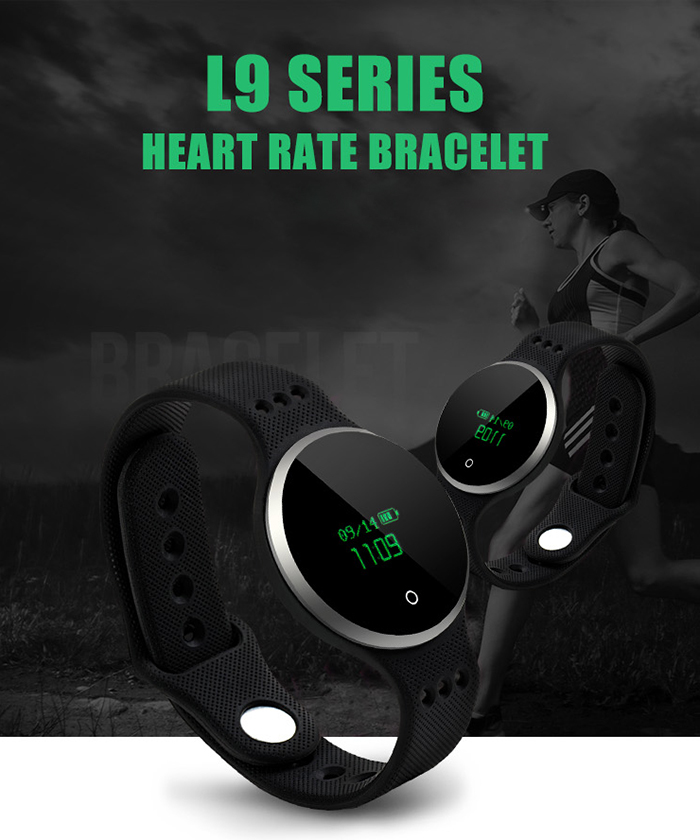 L9 Heart Rate Monitor Smart Wristband avec Siri Sleep Track Calculator Alarm Chronomètre Calendrier