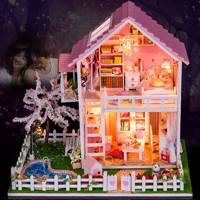 Mini kit maison en bois avec LED Light DIY Handcraft Toy