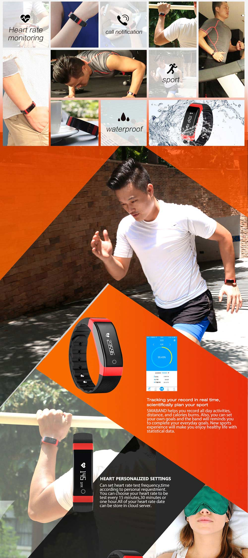 SMA-BAND Bluetooth 4.0 Bracelet intelligent avec 0,88 pouces OLED