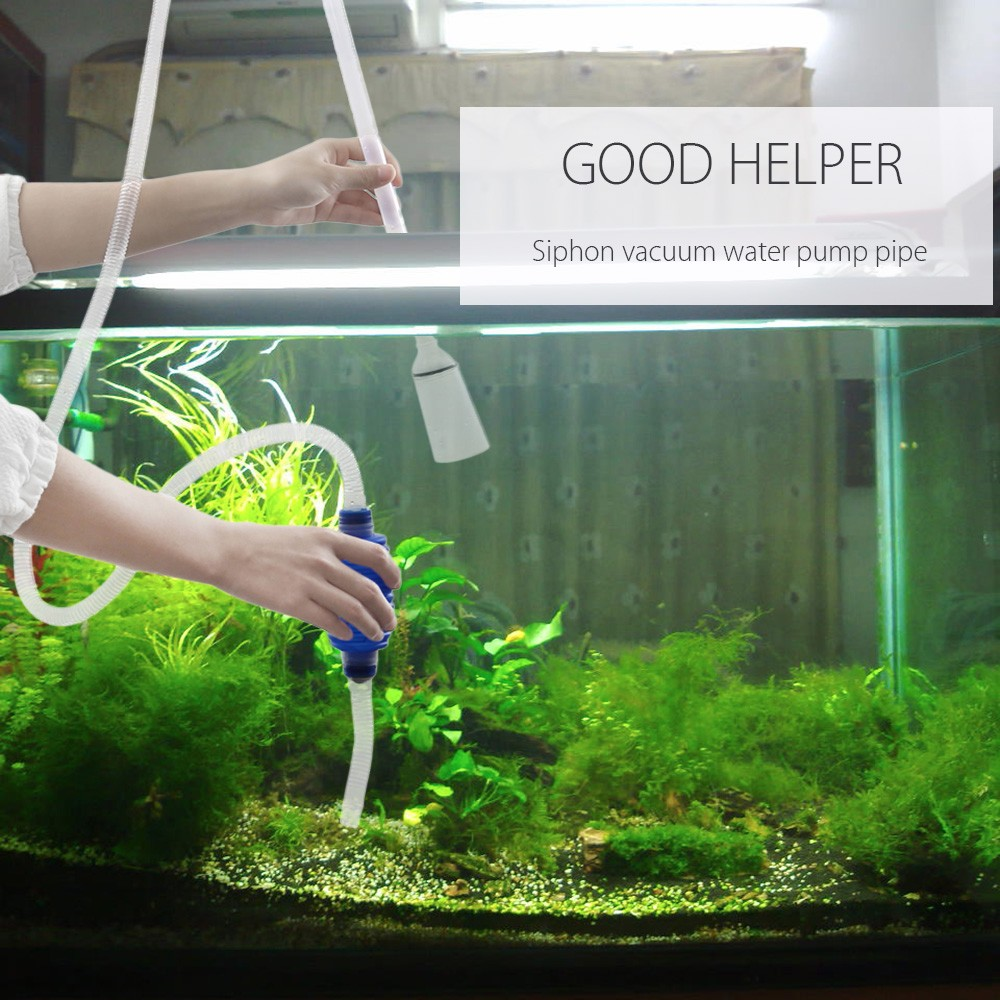 Aquarium Siphon Water Suction Filter Pump Pipe Fish Tank Vacuum Aspirator Cleaning Device