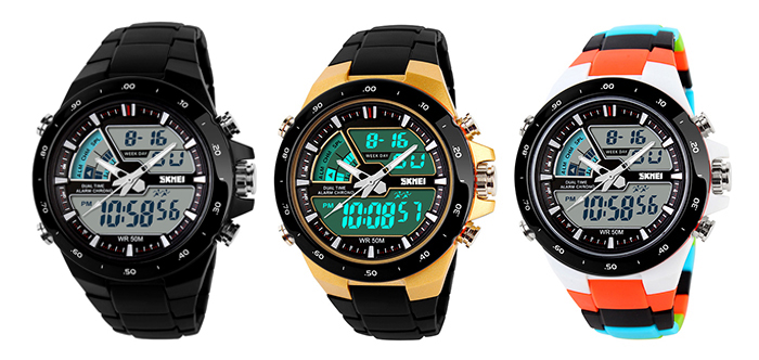 Skmei 1016 Water Resistance  LED Watch with Double Movt Day Date Function