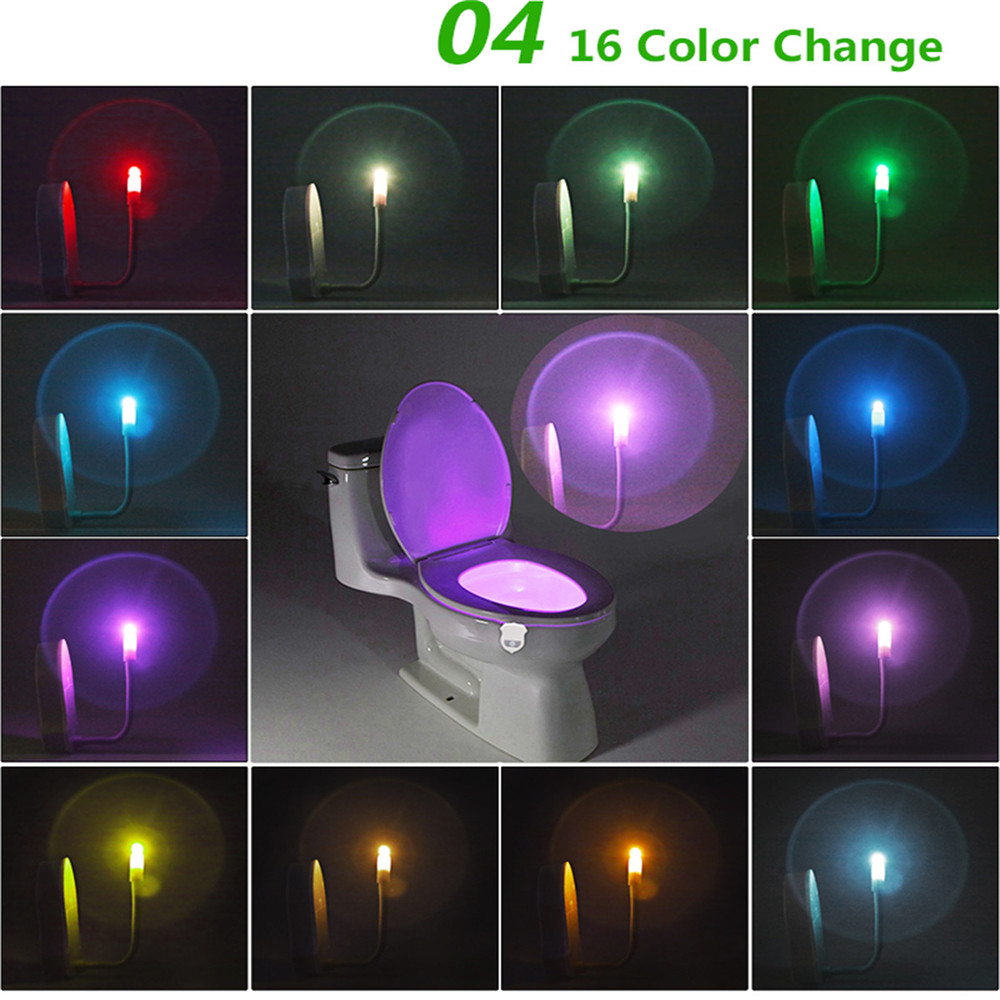 2PCS Ywxlight Ip65 Veilleuse Intelligent de Toilette de Salle de Bain Led Senseur Lampe 16 Couleur