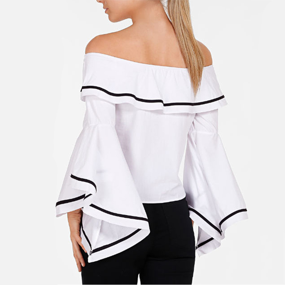 Boho Femmes Off épaule Blouse Flare volant 3/4 Bell manches Vintage Mesdames rayé Tops