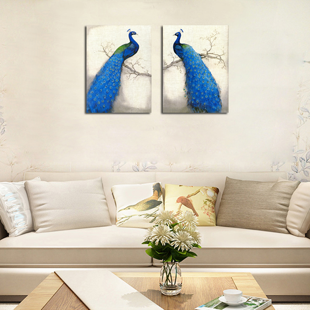 Hx-Art No Frame Canvas Chambre Peacock Animal Twin-Decorative Painting