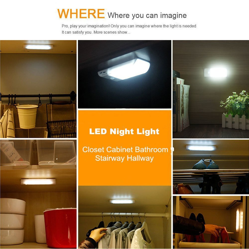 Supli 2 Pieces Motion Sensor Closet 12led Barre Sans Fil Portable Sans Fil
