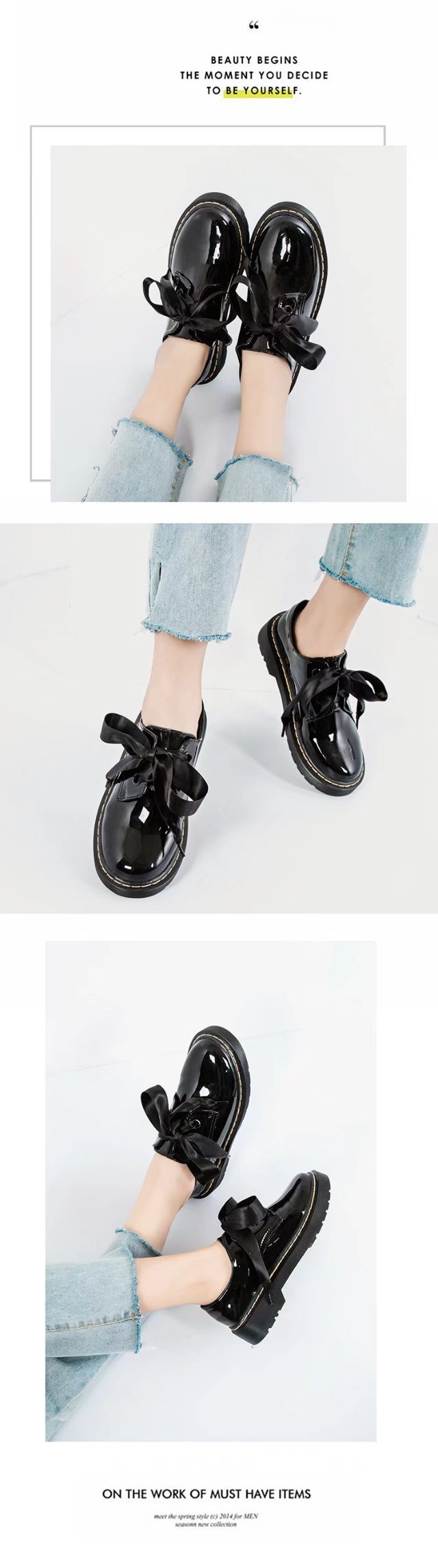 YQ-W800 Round Headed Bow Tie Flat Bottom Chaussures de petites chaussures en cuir