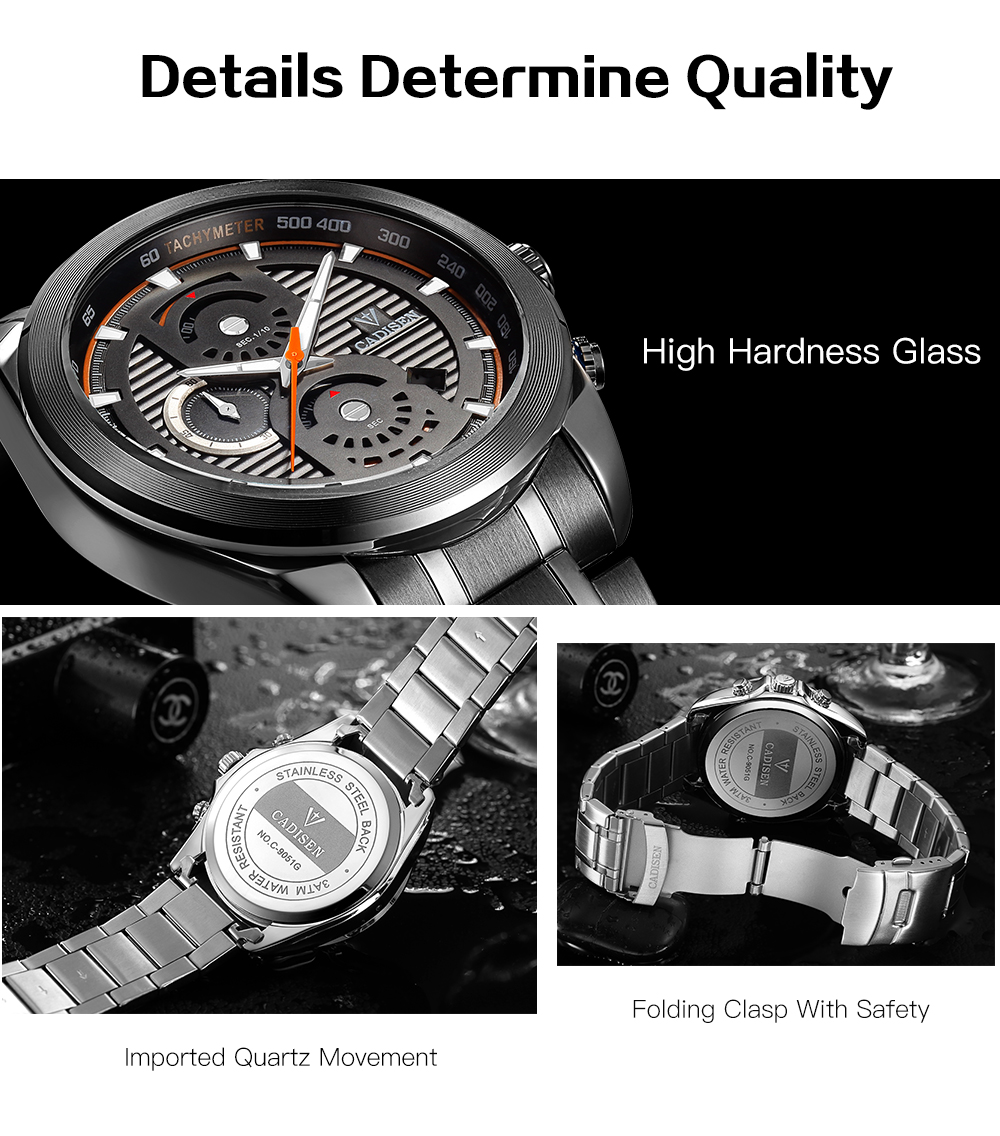 Cadisen C9051 Fashion Men Waterproof Quartz reloj multifunción