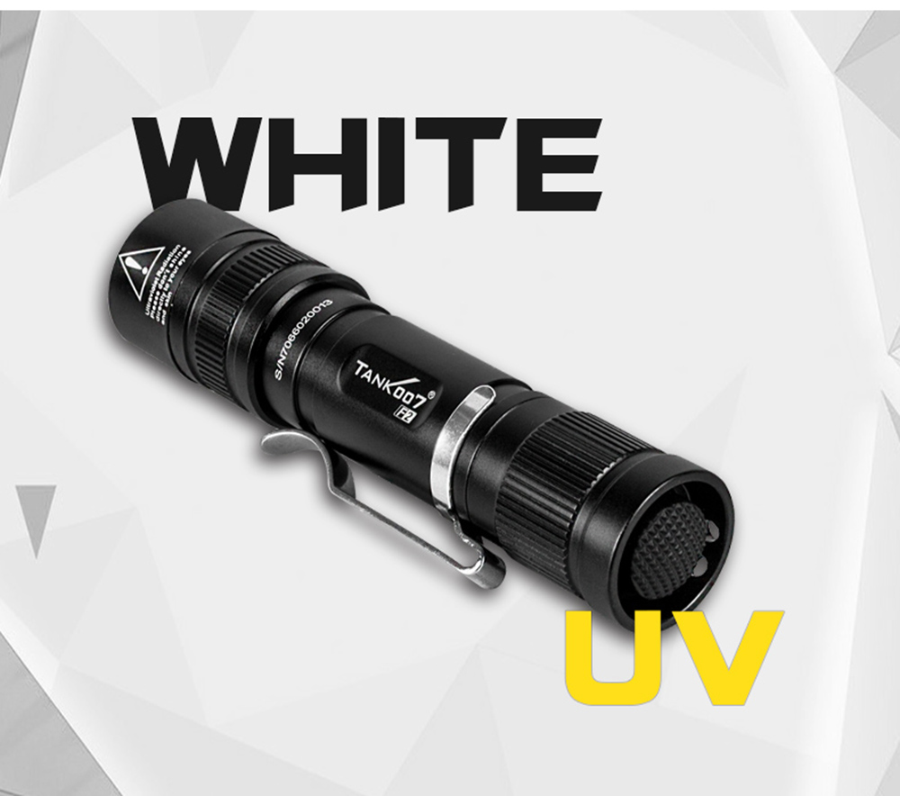 TANK007 F2 blanco / UV Dual Light AA linterna