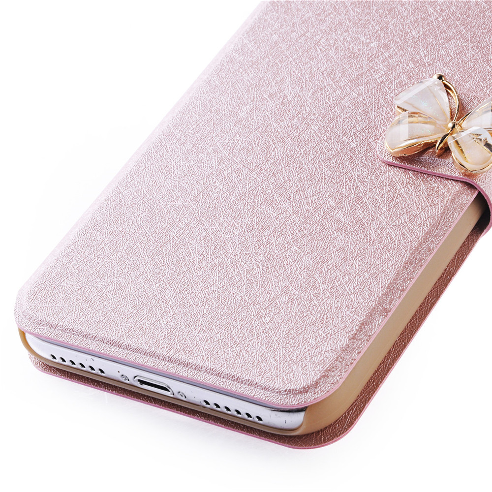 De Luxe En Cuir Portefeuille Stand Flip Case De Mode Bling Diamant Papillon Noeud Couverture Fente Carte pour iPhone 8 Plus / 7 Plus
