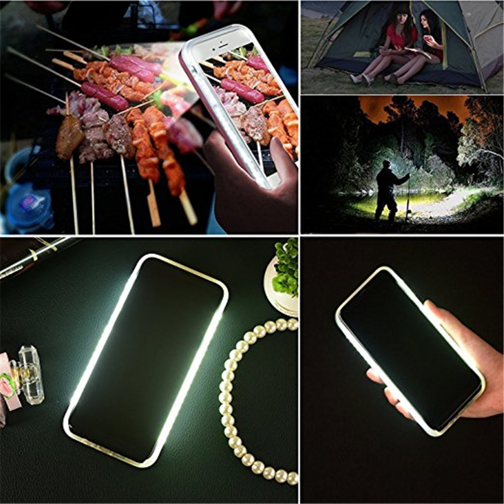 Anti-Skid émettant la coquille arrière dure Shell Selfie LED Flash Light Phone pour iPhone X cas