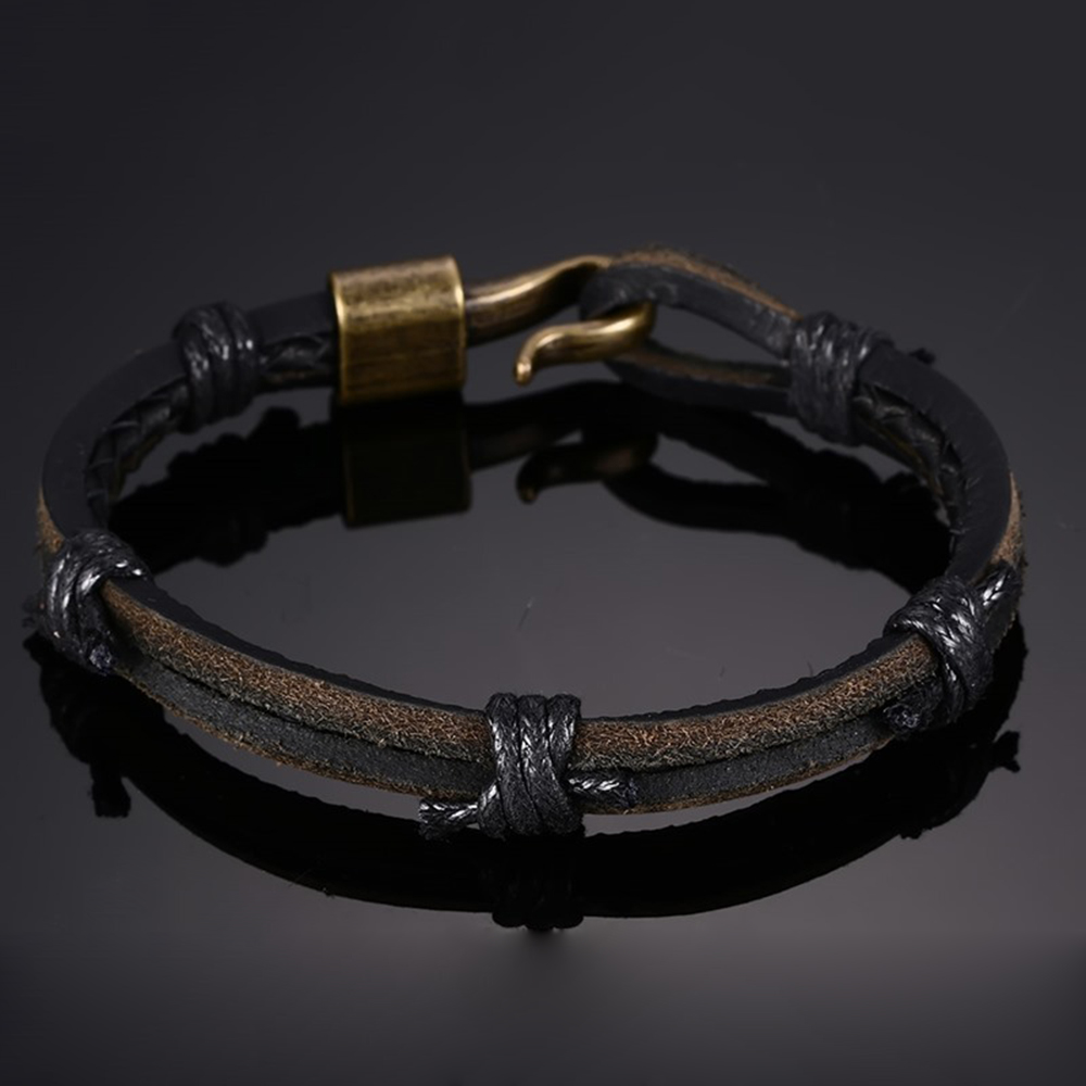 Bracelet tressé en cuir Simple Big Punk Jewelry Men