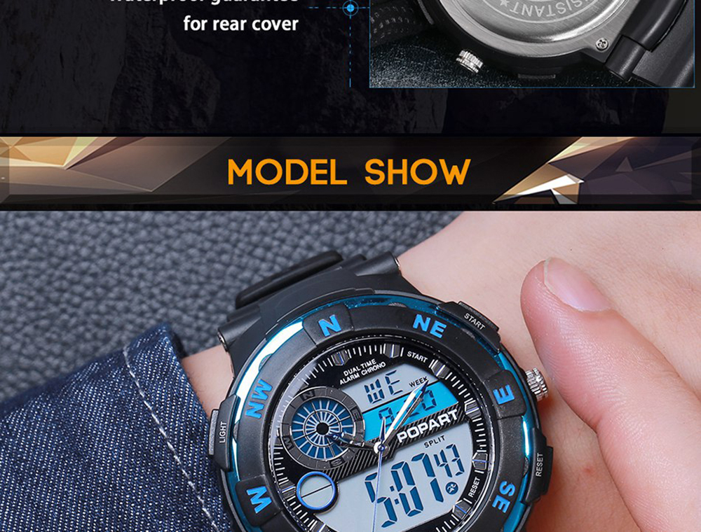 POPART POP831AD Trendy Sports Rubber Band Hommes Quartz Montre