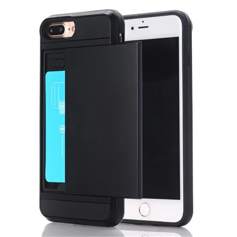 Slider Porte-Cartes Portefeuille Slot Double Couche Protection Dur Shell Shell Tpu Robuste Bumper Armour Case Pour İphone 7 / Plus 8 Plus
