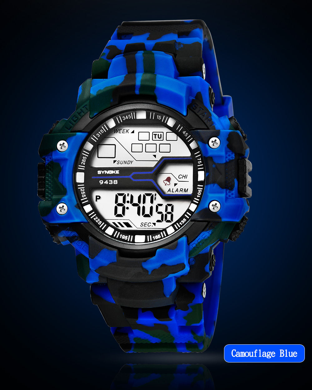 SYNOKE 9438 Trendy Sports Band Hommes Montre