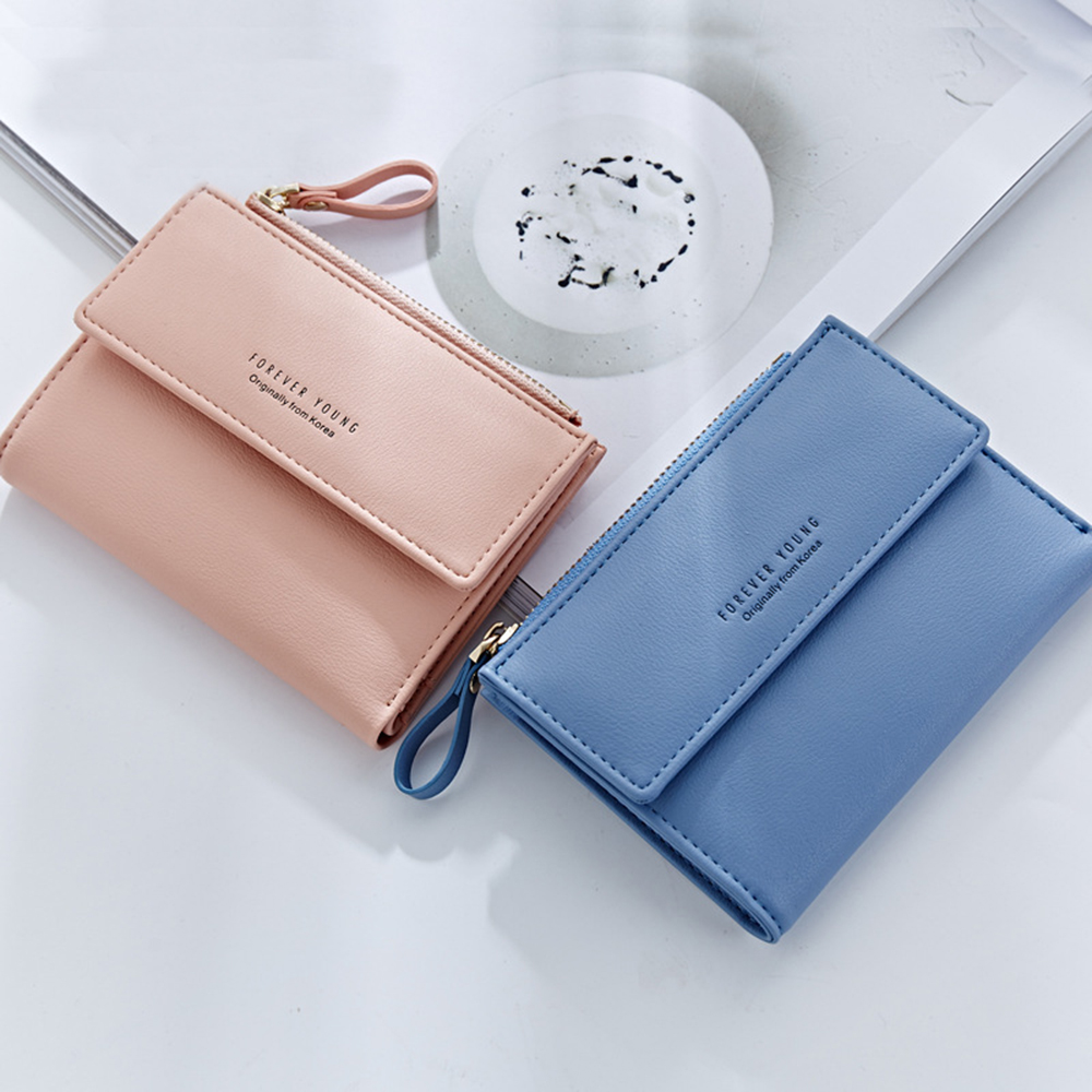 Zipper Court Standard Portefeuille Mode PU En Cuir Solid Coin Carte Purse Femmes Lady Embrayage