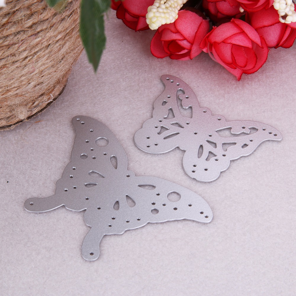 2pcs métal papillon coupe matrices pochoirs pour album photo de bricolage scrapbooking
