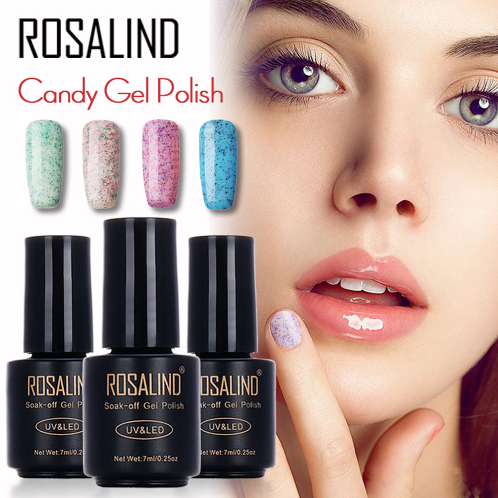 ROSALIND Bouteille noire 7ML Candy Bling D01-24 Gel vernis à ongles