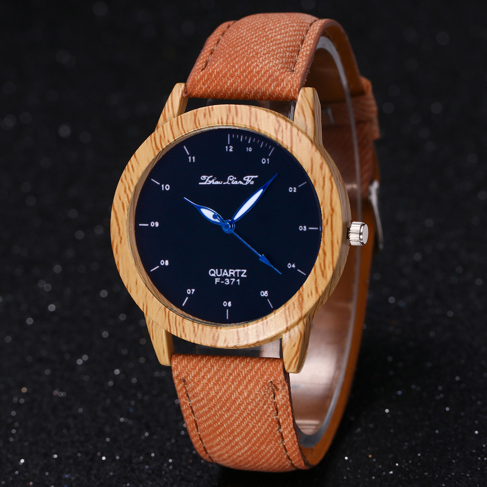 ZhouLianFa Nouvelle Tendance Lumineux Grand Simple-Denim Canvas Business Casual Quartz Montre