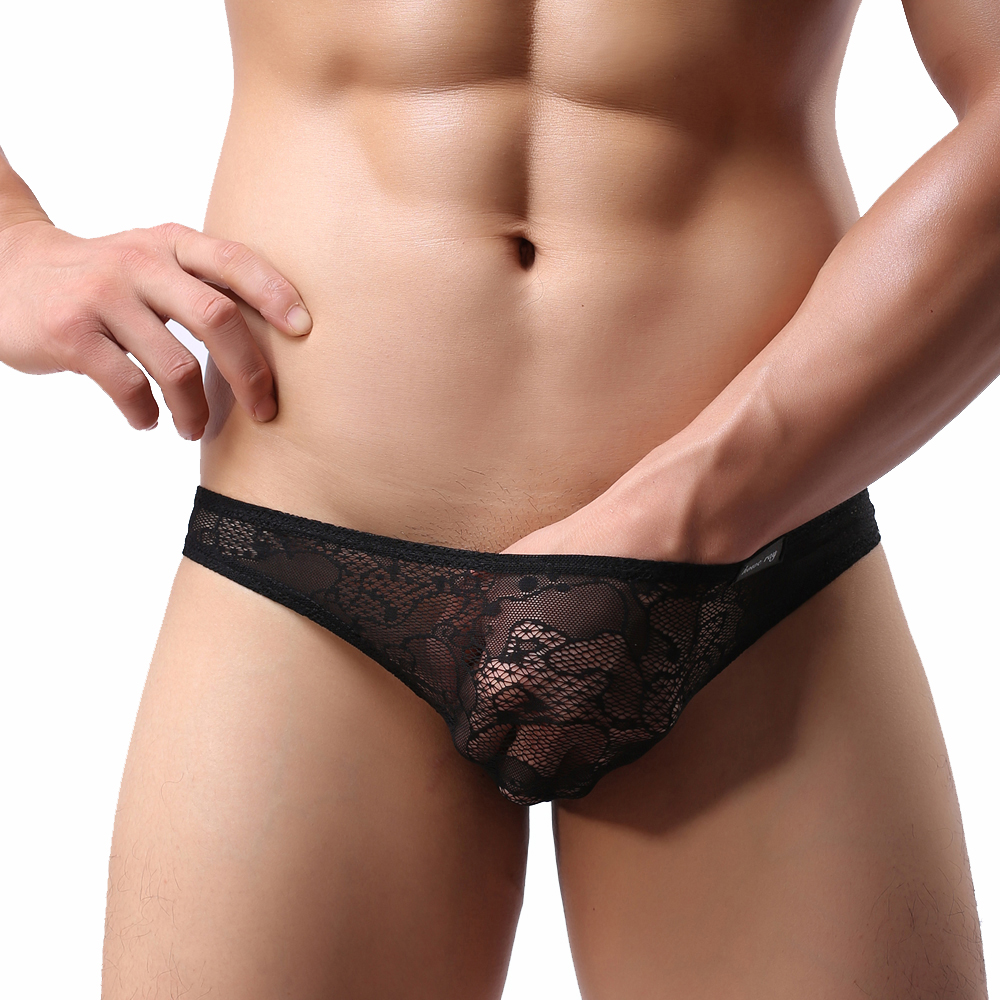 Lace Underwear Hommes Sexy Triangle Perspective Sous-vêtements