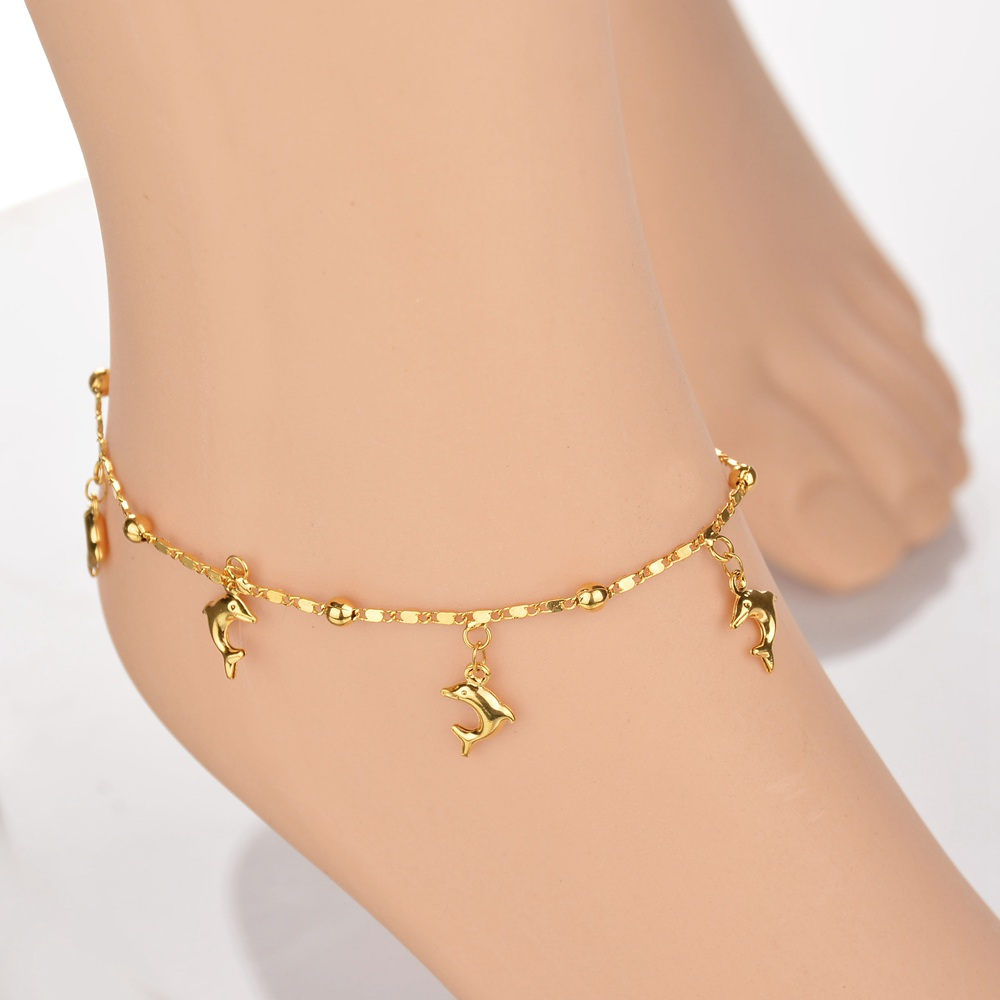 18K Gold Color Small Dolphin Bracelet Anklet in Gold ...