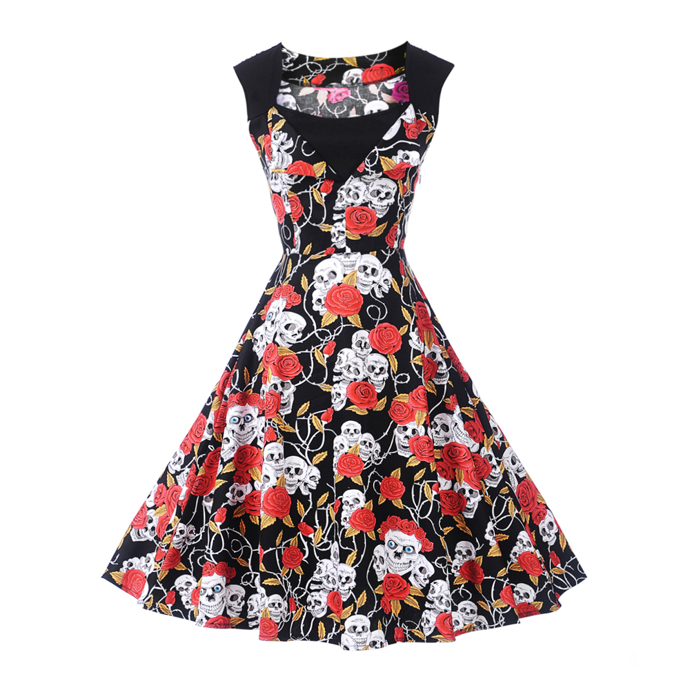 Imprimer Femmes Robes Vintage Floral Print A-Line Party Dress