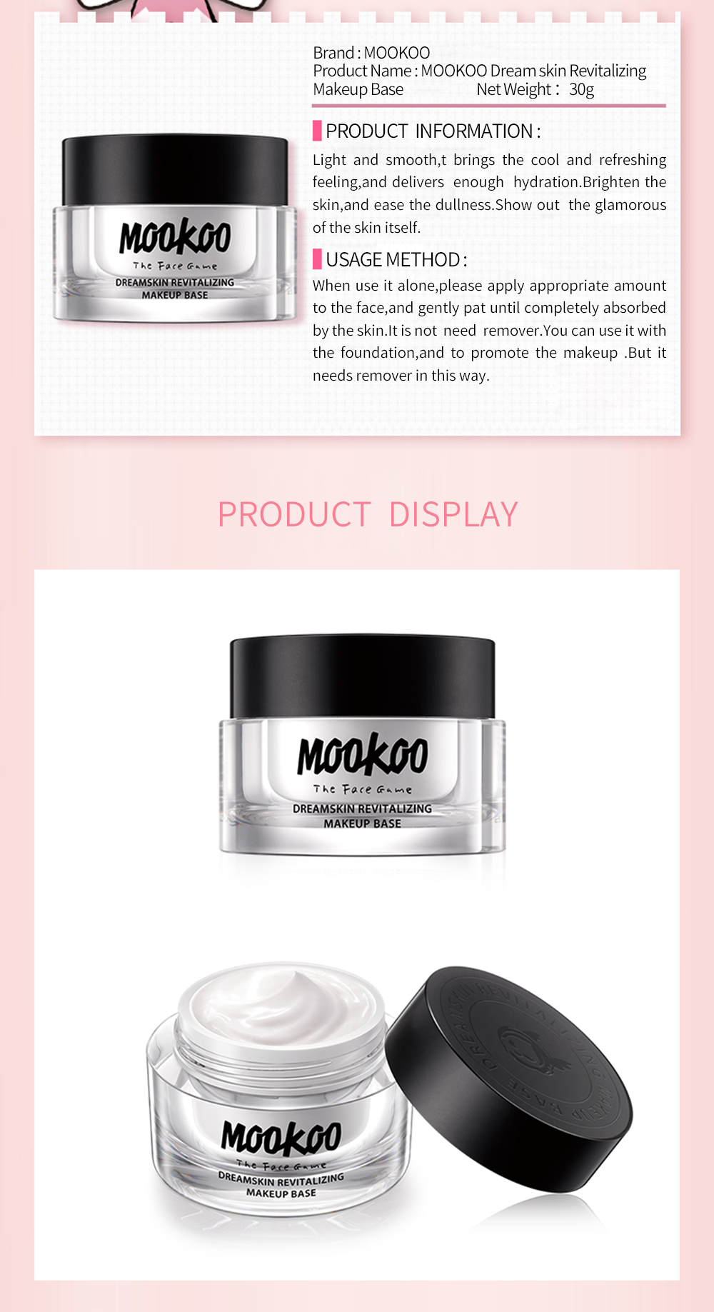 MOOKOO Base de maquillage revitalisante Dream Skin 50g
