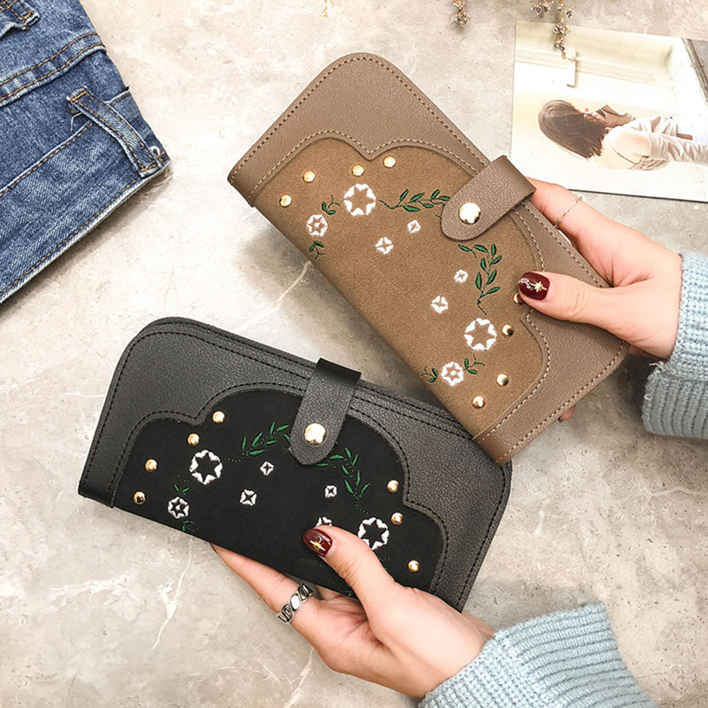 Fashion Womens Stitching Embroidered Purse Elegant Ladies Rivets Clutch Brown Embroidery