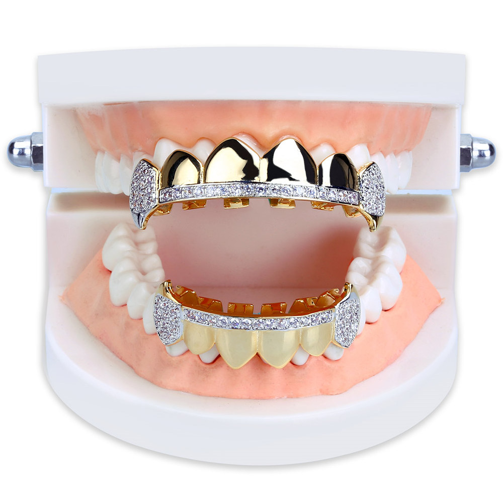 Hip Hop 18K Plaqué Or Micro Pave Cubique Zircon Vampire Crocs Dents Grillz