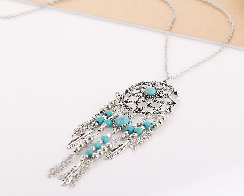 Bohemian Fringed Plumes Bleu Turquoise Dream Catcher Collier