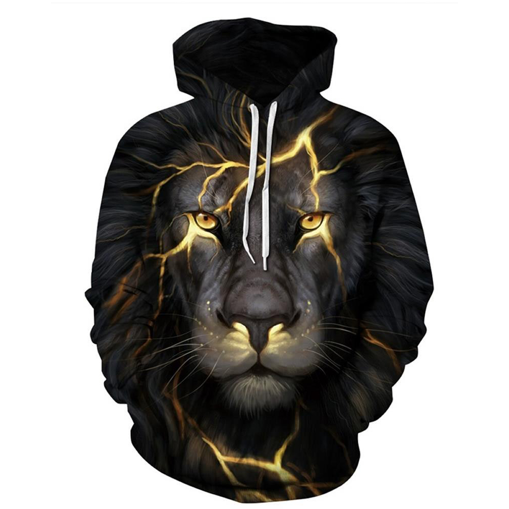 Sweat à capuche à manches longues Lion Light 3D