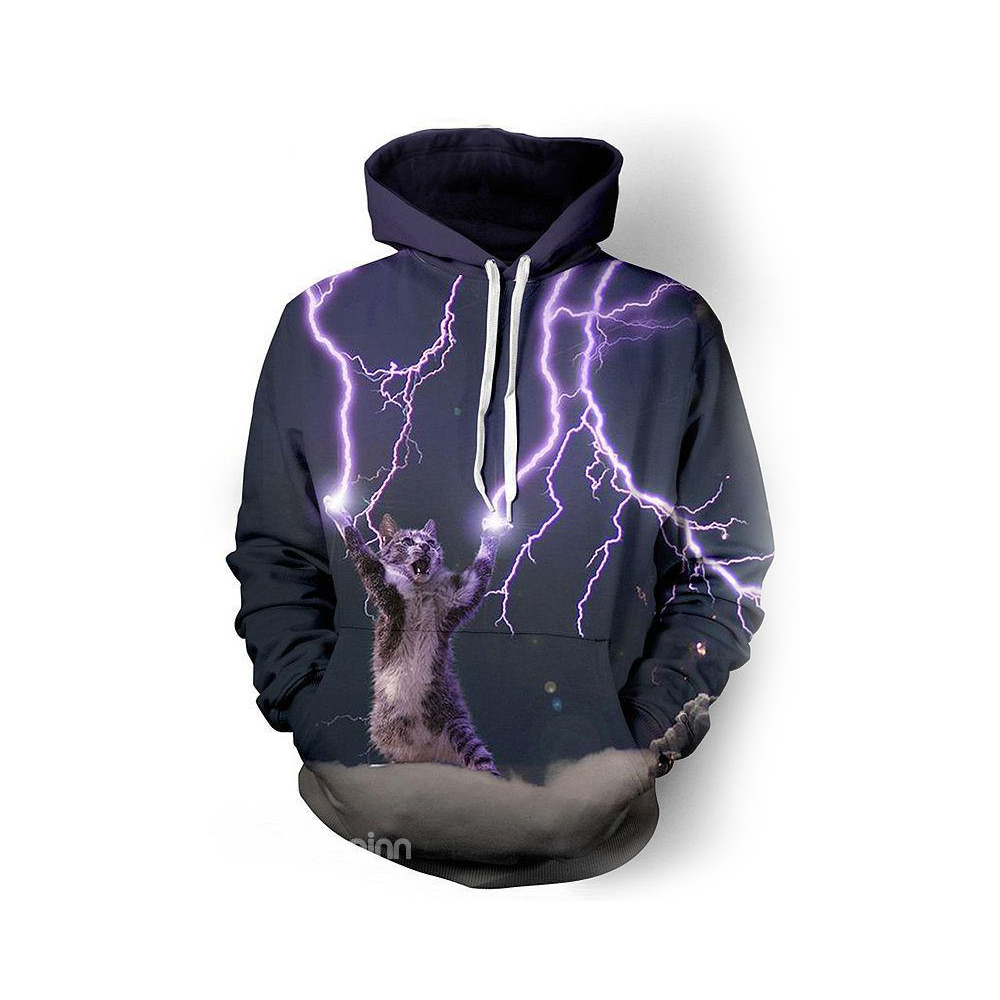 Tee-shirt à manches longues Thunder Cat faire foudre Cool Crazy Pattern 3D peint à capuche