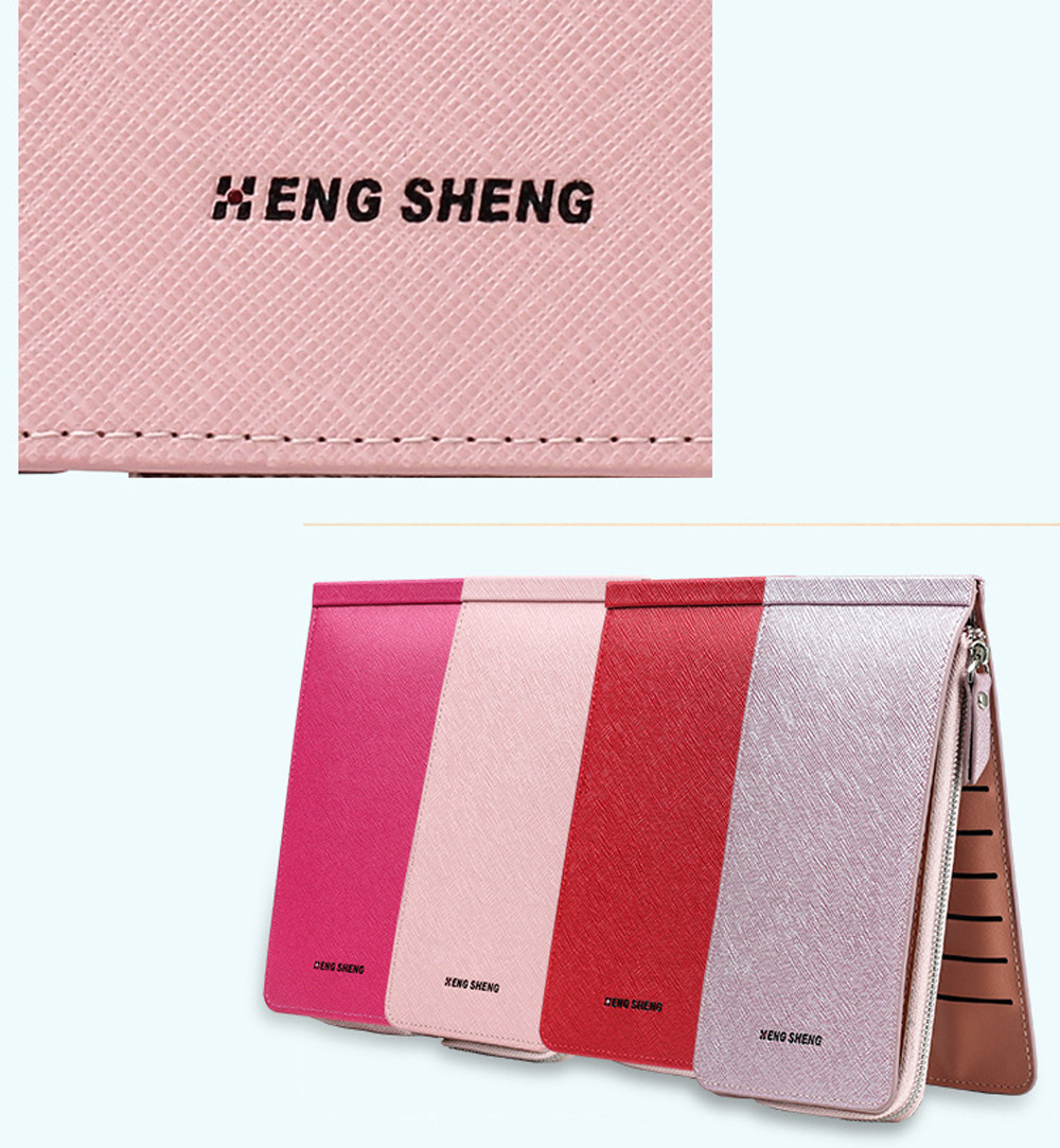 Hengsheng nouveau Ladies Card Card Wallet Slot Men longue Zipper téléphone portable paquet