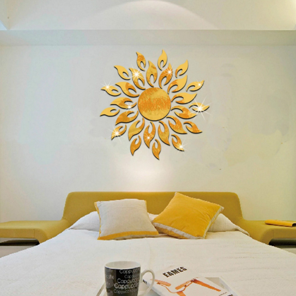 3D Mirror Decal Removable DIY Acrylic Decorative Wall Sticker in ...