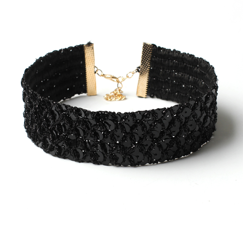 Paillettes à larges bords Bijoux Flanelle Choker Collier Femmes Full Diamond Collar Accessoires