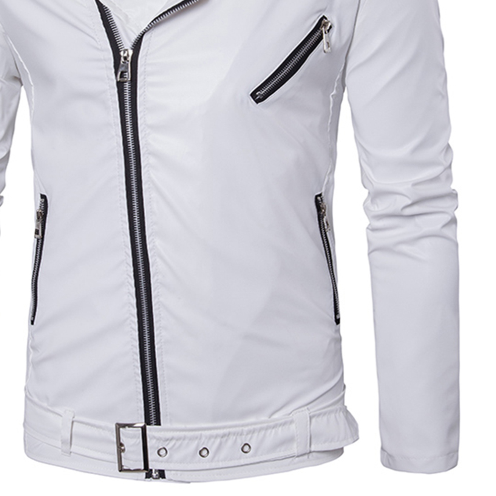 Hommes Zipper Punk Grand Revers Mode Tendance Casual de Veste en cuir